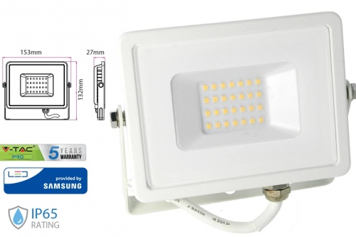 Faro Led Flood Light 20W IP65 Bianco Neutro Super Slim Chip Samsung Garanzia 5 Anni SKU-443